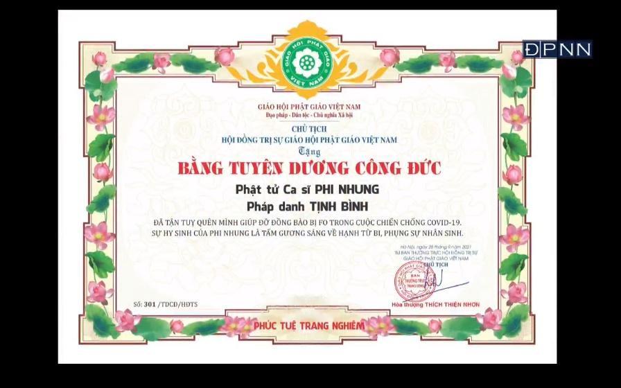 Lễ cầu siêu ca sĩ Phi Nhung: Trao bằng tuyên dương công đức-5