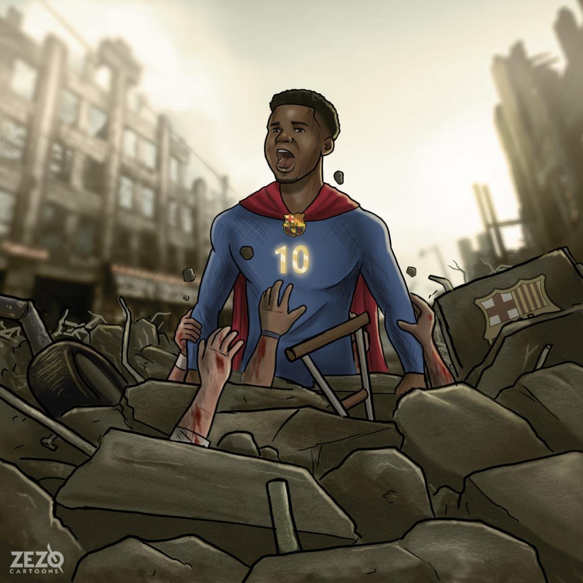 Ansu Fati trở lại mạnh mẽ sau chấn thương. (Ảnh: Zezo Cartoons).