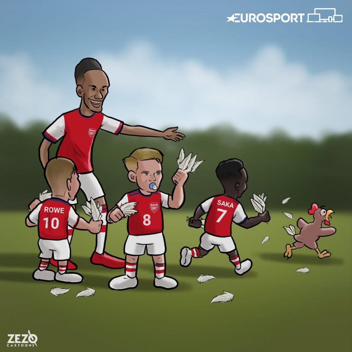 Arsenal đang đi đúng hướng sau những trận đầu chật vật. (Ảnh: Zezo Cartoons)/
