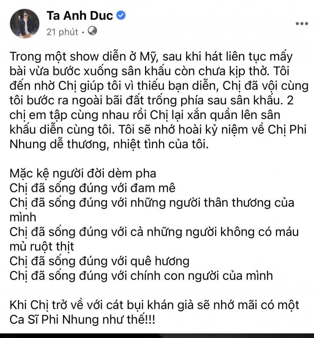 Nghệ sĩ Việt tiếc thương sự ra đi của ca sĩ Phi Nhung