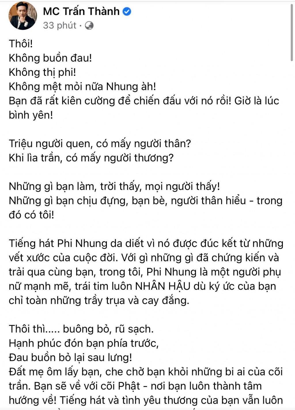 Trấn Thành trần tình khi bị chỉ trích xưng hộ 'bạn   tôi' với Phi Nhung dù kém tuổi hơn