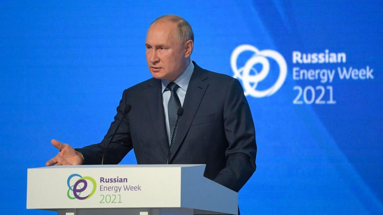 Tổng thống Nga Vladimir Putin phát biểu tại phiên họp toàn thể diễn đàn Tuần Năng lượng Nga ngày 13/10. (Nguồn: kremlin.ru)